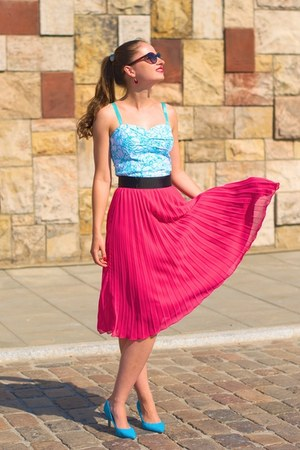 hot pink H&M skirt - sky blue Orsay top