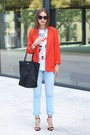 Light-blue-h-m-jeans-red-f-f-jacket-black-lacoste-bag-black-zara-heels
