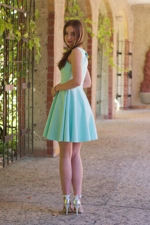 white Stradivarius sandals - light blue Mohito dress