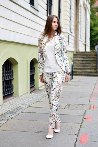 white floral print Orsay jacket - ivory floral print Orsay pants