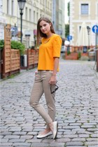 orange River Island blouse - light yellow H&M pants