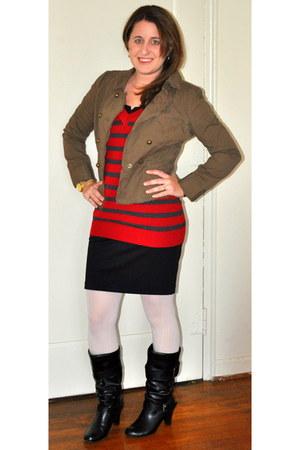 Steve Madden boots - TJ Maxx dress - Loft jacket - Forever 21 sweater - Forever