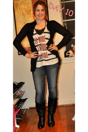 Steve Madden boots - Levis jeans - Urban Outfitters top - kohls cardigan - Juicy