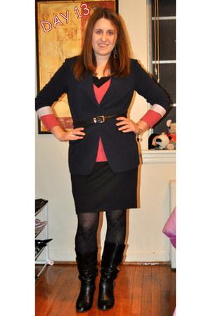 Steve Madden boots - XOXO dress - neiman marcus sweater - Elie Tahari blazer - A
