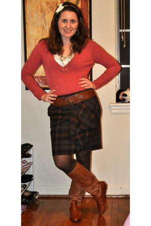 Steve Madden boots - neiman marcus sweater - kohls tights - Michael Kors skirt -