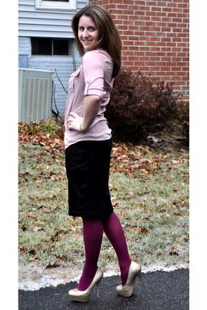 kohls tights - H&M blouse - kohls skirt - Steve Madden heels - Michael Kors watc
