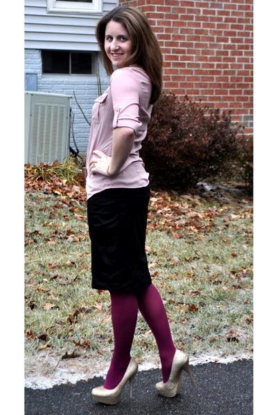 75c70f3b44f59 kohls tights - H&M blouse - kohls skirt - Steve Madden heels - Michael Kors  watc