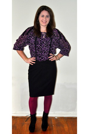 Steve Madden boots - kohls tights - kohls blouse - Michael Kors skirt - Juicy Co