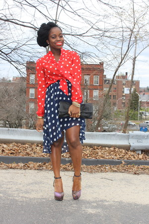 polka dot H&M blouse - Very shoes - asymmetrical Forever 21 skirt