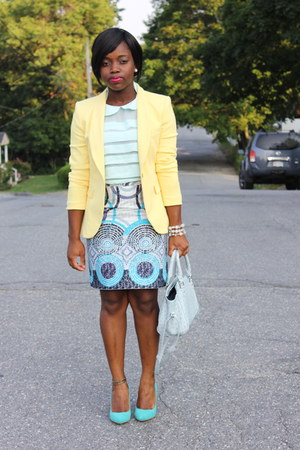 butter Zara blazer - printed Self Designed skirt - Zara pumps