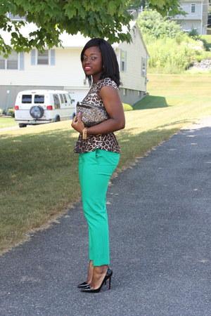 green Express pants - leopard print asos top - Christian Louboutin heels