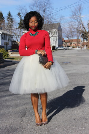 tulle skirt self-made skirt - turtleneck Target sweater
