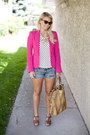 Hot-pink-zara-blazer-white-american-eagle-shorts-black-zara-t-shirt