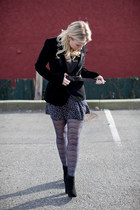 asos boots - suede Costa Blanca blazer - H&M tights - modcloth skirt