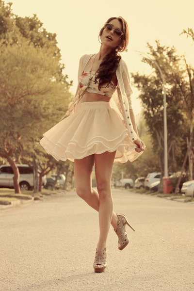 ivory Chicwish skirt - heather gray TVZ heels