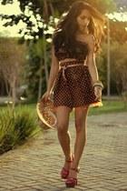 carrot orange polka dotslace Vovo Santa skirt - hot pink Schutz heels