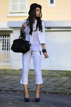 white HIT blazer - black Arezzo bag - blue Di Santini heels