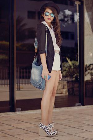 Schutz heels - felicee blazer - brech bag - Ray Ban sunglasses
