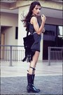Black-leather-arezzo-boots-navy-felicee-dress-black-andarella-bag