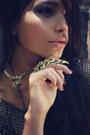Bronze-romwe-dress-black-romwe-tights-gold-romwe-earrings