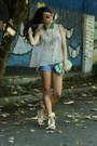 Beige-chicwish-shirt-aquamarine-colcci-bag-sky-blue-jeans-chicwish-shorts