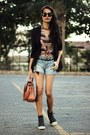 Coral-nica-bag-black-felicee-blazer-silver-aquamar-shorts