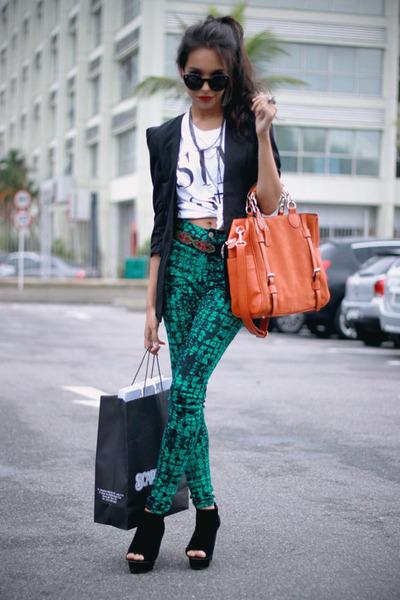 black santa lolla heels - black felicee blazer - white T-shirt shirt