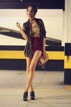brick red velvet Ebay pants - black Arezzo shoes