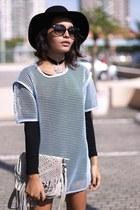 Forever 21 hat - choker Rocknrose necklace - mesh Front Row Shop top