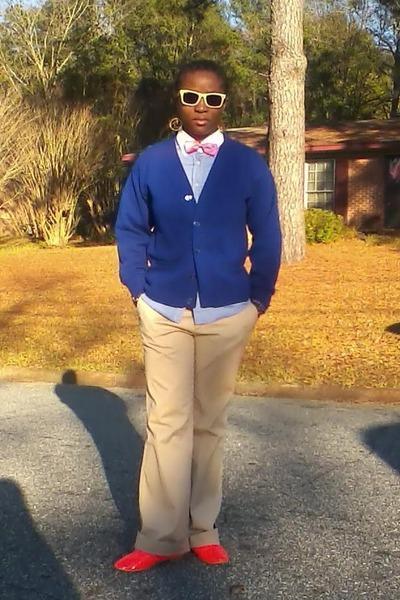 thrifted shirt - cat eye rayban sunglasses - royal blue thrifted cardigan