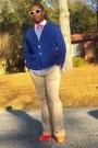 Thrifted-shirt-cat-eye-rayban-sunglasses-royal-blue-thrifted-cardigan