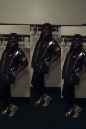 boots - rhinestone leggings - sequins scarf - polarized sunglasses