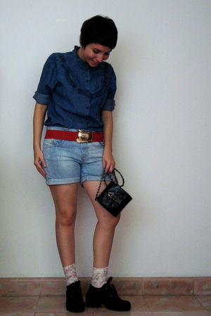 blue Urban Outfitters blouse - blue Zara shorts - red vintage belt - white Pull