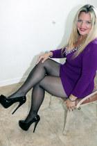 purple mini Nordstrom dress - gift heels