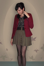 crimson LOB blazer - black polka dot wall mart tights - black Zara blouse