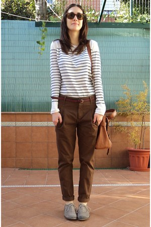 Bershka shoes - Misako bag - Zara pants - cotton stripped Zara t-shirt