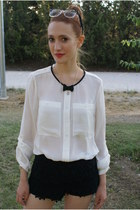 black Zara shorts - white Massimo Dutti blouse