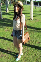 navy Bershka shorts - light blue BLANCO shoes - eggshell Zara blouse