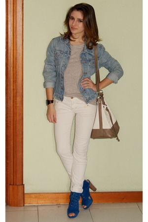 blue hazel shoes - blue Levis Vintage Collection jacket - beige Mango accessorie
