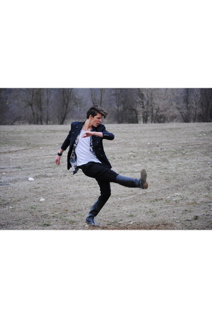 H&M jacket - boots - FRAV pants - H&M bracelet - American Apparel t-shirt