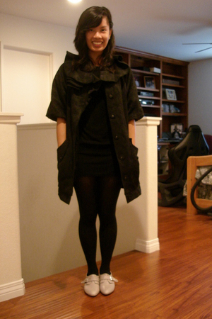 black twelve by twelve jacket - black Lux dress - black tights - beige Aldo shoe