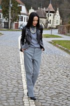 heather gray leather Zara jacket - Zara blouse - silver Smuggler necklace
