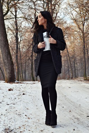black Zara boots - dark gray Mango coat - black Charade Fashion skirt
