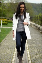 gray Bershka boots - white Zara coat - navy Zara jeans - heather gray H&M blouse