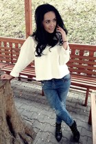 white Zara blouse - black Zara boots - sky blue Bershka jeans