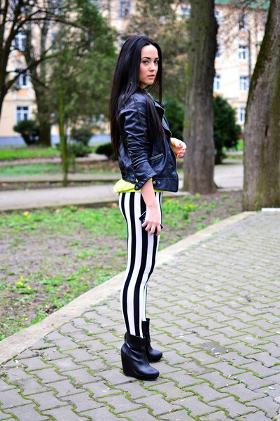 Black Zara Boots Black Zara Jackets White Cu0026A Leggings | u0026quot;Lime and stripesu0026quot; by alecsa | Chictopia