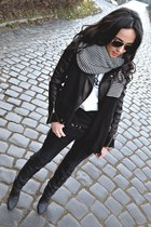 black H&M boots - black Zara jeans - black leather Zara jacket
