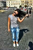 sky blue Zara jeans - white H&M sneakers