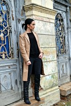 mustard leather vintage jacket - black H&M boots - black Zara jeans