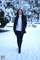 black Zara boots - gray Mango coat - white Zara sweater - black no name leggings